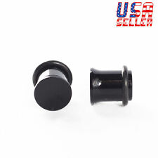 1 PAIR Black Acrylic Single Flare Ear Plugs Gauges 8mm 0G