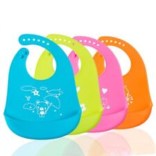 Cartoon Kids Silicone Baby Bibs Adjustable Waterproof Feeding Saliva Apron New