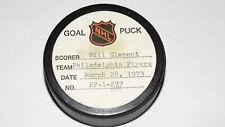 1972-73 Bill Clement Philadelphia Flyers Game Used Goal Scored Puck -Sabres Logo