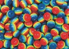 25 Rainbow Stripe Beads Round Red Yellow Blue Green 8mm