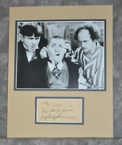 Three Stooges Matted Display w/ Pre-Printed Copy of an Original Signatures