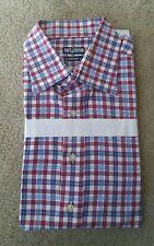 New Cafe Coton Blue Wine 18 Button Down Long Sleeves Shirt Checks 2XL Free Ship