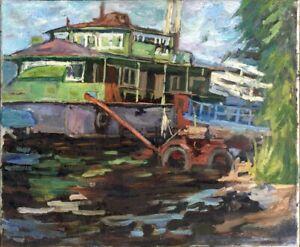 """Russischer Realist Expressionist Öl Leinwand """"Schiff am Dock"""" 62 x 50 cm"""