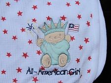 JUST BORN BABY GIRL BLANKET WHITE RED STAR ALL AMERICAN GIRL THERMAL WAFFLE