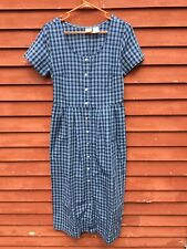 Oilily Blue Plaid Women's Small Short Sleeve Dress Cotton Pockets Button Front