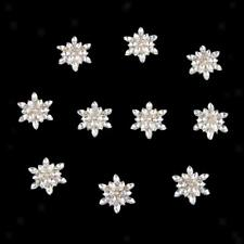 10 Flower Rhinestone Button Flatback Embellishment Wedding Craft Gold 28mm