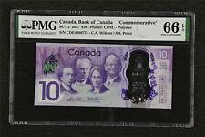 "2017 Canada Bank of Canada ""Commemorative"" BC-75 10 Dollars PMG 66 EPQ Gem UNC"