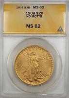 1908 No Motto $20 St. Gaudens Double Eagle Gold Coin ANACS MS-62 SB