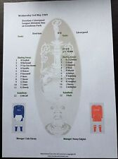1988-89 Everton v Liverpool first game after Hillsbrough matchsheet