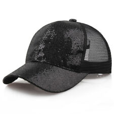 Women Adjustable Ponytail Baseball Cap Sequins Shiny Bun Snapback Hat Sun Caps