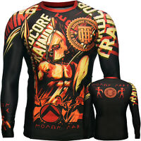 Rash Guard Men's HCT Sparta Black Base Layer Compression Shirt MMA BJJ UFC No-Gi