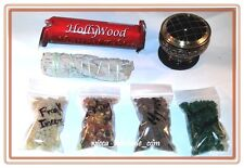 "2.5 "" Brass Black Incense Burner Charcoal and 4 Resin, Sage & Charcoa Kit travel"