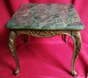 Table basse style Louis XV en bronze, marbre vert  Milieu XX siècle