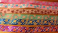 6 x 28cm 15mm Mixed Flower Satin Ribbon Cardmaking Scrapbooking