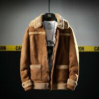 Men's Cashmere Sueded Lamb Lapel Coat Short Jacket Shearling Warm Outwear Winter