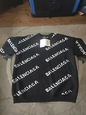 Balenciaga All over Logo Knit Sweater Jumper 2XL Black Wool