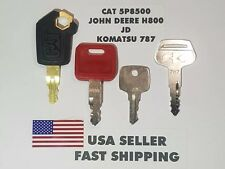 (4) Heavy Equipment Ignition Key CAT 5P8500, John Deere H800, JD, Komatsu 787,
