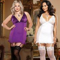 Plus Size Lingerie One Size 1X2X or 3X4X Orchid or Pearl Garter Chemise  DG8636X