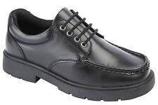 Boys Leather Boat Shoes 4 Eyelet Lace Up Smart School Formal Size