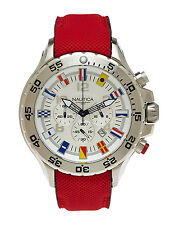 Nautica White Signal Flags Chronograph Date Dial Red Strap Men's Watch A24515G