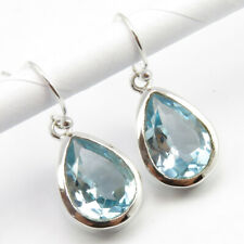3 Days Delivery ! 925 Silver Real BLUE TOPAZ Earrings 1.2""