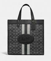 💚 COACH Field Tote Bag In Signature Jacquard Purse Handbag Graphite Black NWT
