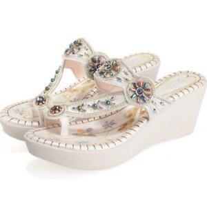 Chic Boho Womens Beads Diamante Flip Flops Wedge Sandals Beach Summer Slippers