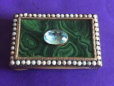 Antique Italian Sterling Snuff Box , Circa 1900 Malachite, Pearl  Seeds