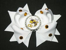 "NEW ""Georgia Tech Yellow Jackets"" GT Girls Ribbon Hair Bow Rhinestone Clip NCAA"