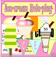 ICE CREAM PARLOUR Summer Seaside Role play SHOP Teaching Resources EYFS KS1 NQT
