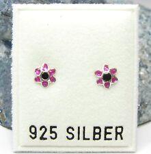 NEU 925 Silber OHRSTECKER BLÜTEN lila/schwarz OHRRINGE Blumen BLUME EARRINGS