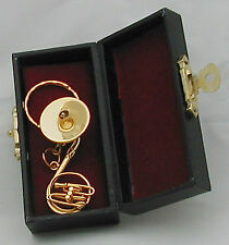 "Sousaphone Tuba handmade collectible miniature replica 1.75"" w/ key chain & case"
