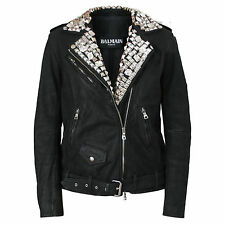 BALMAIN PARIS $12,160 leather metal and crystal studded coat biker jacket 42-FR