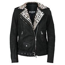 BALMAIN PARIS $12,160 leather metal and crystal studded coat biker jacket 42-FR