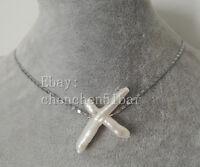 schön kultiviert weiß Barock Süßwasserperle Kreuz -Anhänger Halskette