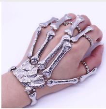 Skull Skeleton Bone Hand Finger Ring Slave Bracelet Cuff Punk Gothic Devil Talon