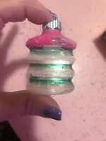 Vintage SHINY BRITE Glass Christmas Ornament LANTERN Unsilvered MICA Pink Green