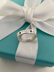 Tiffany & Co Sterling Silver With 2 Montana Sapphires 1837 Ring Unisex. RRP $755