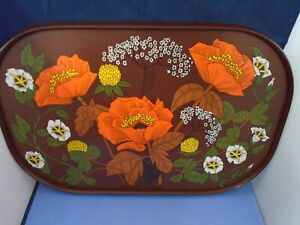 Vintage1970s St. Michael M&S Retro Orange Brown Floral Melamine Serving Tray