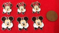 Set of 6 x Lovely MINNIE & MICKEY MOUSE Silver Tone Enamel Charm Pendants