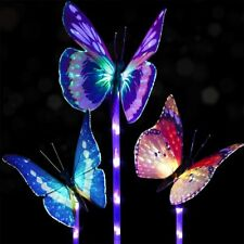 DOINGART OUTDOOR GARDEN BUTTERFLY COLOR CHANGING SOLAR LIGHTS - 3 PACK - NEW