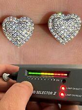Solid 925 Sterling Silver Iced Heart Stud Earrings Moissanite Pass Diamond Test