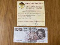BANCONOTA LIRE 100000 CARAVAGGIO I TIPO D 1990 certificata BB/SPL