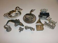 9 MINI ANIMALS STOVE GRAMAPHONE FIGURINES METAL PEWTER BRASS DOLPHIN COW DOG