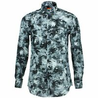 Mens Shirt Loud Originals TAILORED FIT Floral Grey Retro Psychedelic Fancy