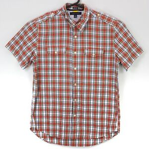 Tommy Hilfiger Men's Button Up Slim Fit SS Collared Shirt Large Multicolor Plaid