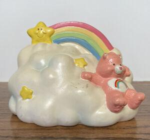 RARE Vintage 1985 Cheer Bear Care Bears Rainbow Over A Cloud Ceramic Bank