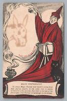"""Magic Photography"" Novelty Halloween Postcard—Black Cat—CAMERA Wizard 1910s"