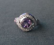 STERLING SILVER PINK ENAMEL AMETHYST & CUBIC STONES RING P 925 SOLID
