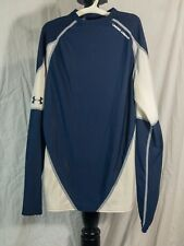 Under Armour Compression Shirt Youth SM Fitted ColdGear Long Sleeve White Navy